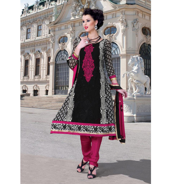 Make your presence felt with this stylish designer churidar dress made from black faux georgette material. beautiful white and rani color resham embroiderNEW LOOK DESIGNER CHURIDAR SALWAR KAMEEZ RTDV50B - stylishbazaar - online shopping for anarkali suits, online shopping for anarkali dress, online shopping of anarkali suits, online shopping anarkali dress, online shopping of anarkali dress,  Diwali Shopping, Deepawali Shopping, Diwali 2014, Festive Trends 2014 y with