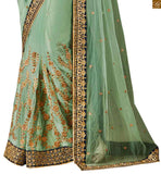 BROUGHT TO YOU STYLISH BAZAAR ELEGANT DESIGNER GREEN NET DESIGNER SAREE WITH A VELVET BLOUSE ANRF51