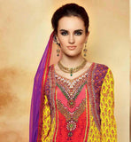 YELLOW AND PURPLE KIMORA JEWELLERY LOOK NECKLINE SALWAR KAMEEZ 5108