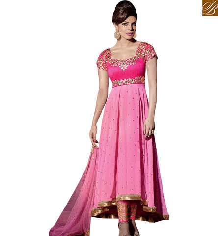 STYLISH BAZAAR BOLLYWOOD CELEBRITY PRINYANKA CHOPRA GEORGETTE ANARKALI SALWAR KAMEEZ JNHR5123