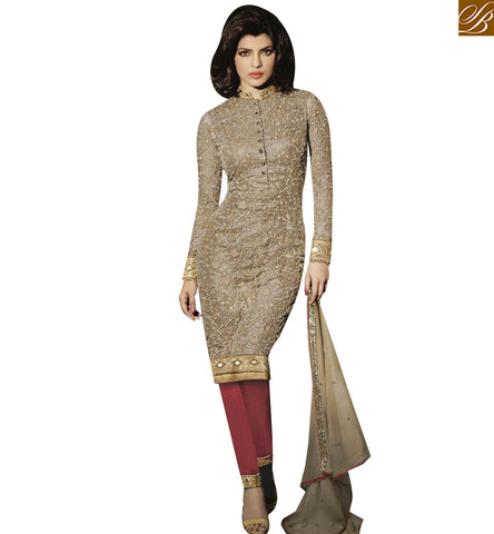 STYLISH BAZAAER WONDERFUL BEIGE NET PRIYANKA CHOPRA DESIGNER SUIT HAVING FULL EMBROIDERED SLEEVES JNHR5125