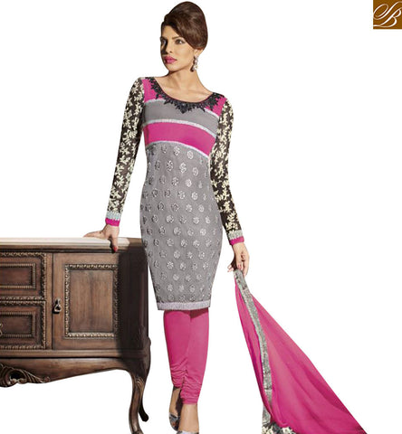STYLISH BAZAAR BOLLYWOOD ACTRESS PRIYANKA CHOPRA GREY GEORGETTE DESIGNER SUIT WITH PINK BOTTOM & DUPATTA JNHR5127