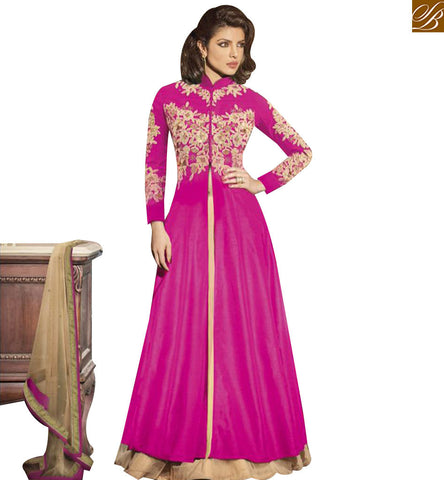 STYLISH BAZAAR EYE CATCHING PINK GEORGETTE PRIYANKA CHOPRA EMBROIDERED ANARKALI SALWAR KAMEEZ JNHR5129