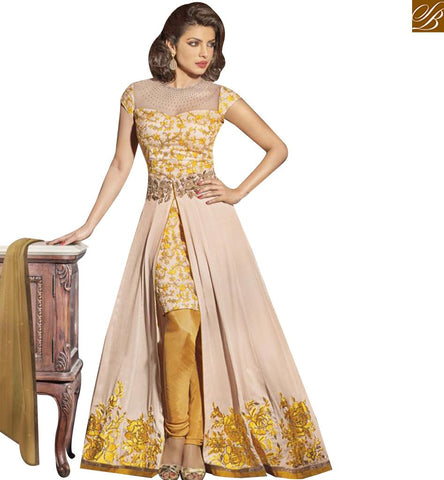 STYLISH BAZAAR BOLLYWOOD CELEBRITY PRIYANKA CHOPRA DESIGNER ANARKALI SALWAR KAMEEZ WITH SLIT CUT JNHR5130