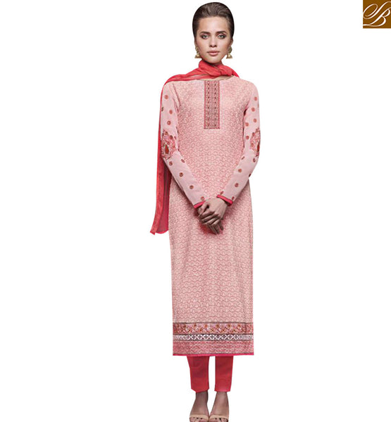 STYLISH BAZAAR PINK GEORGETTE DESIGNER STRAIGHT CUT SALWAR KAMEEZ WITH RED DUPATTA JNHR5134