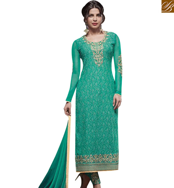 STYLISH BAZAAR ATTRACTIVE GREEN GEORGETTE HEAVY EMBROIDERED STRAIGHT CUT SALWAR KAMEEZ JNHR5135