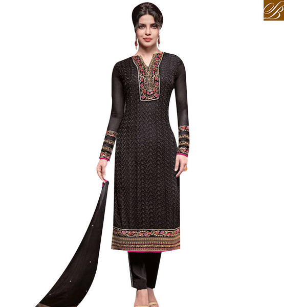 STYLISH BAZAAR WONDERFUL BLACK GEORGETTE DISPLAYING EMBROIDERY STRAIGHT CUT SALWAR KAMEEZ JNHR5137