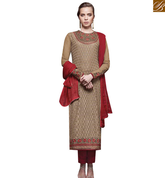 STYLISH BAZAAR SHOP BEIGE GEORGETTE STRAIGHT CUT DESIGNER SALWAR KAMEEZ FROM STYLISH BAZAAR JNHR5138