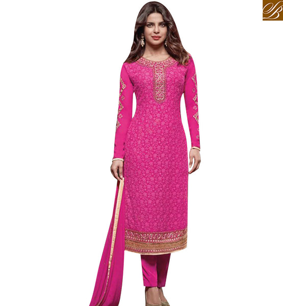 STYLISH BAZAAR LOVELY PINK GEORGETTE STRAIGHT CUT DESIGNER SUIT WITH FULL SLEEVES JNHR5139