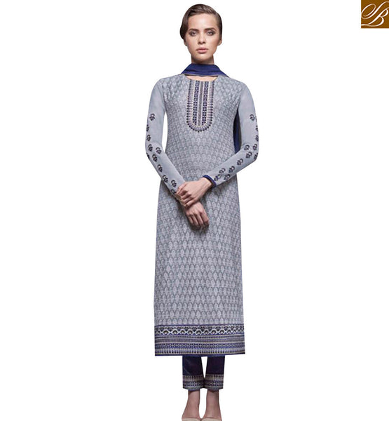 STYLISH BAZAAR GORGEOUS GREY GEORGETTE SALWAR KAMEEZ WITH NAVY BLUE DUPATTA JNHR5140
