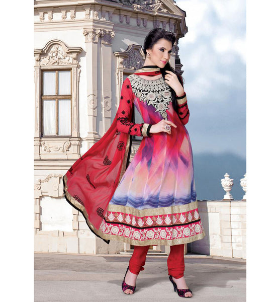 STUNNING PRINTED MULTICOLOR CHURIDAR SALWAR KAMEEZ RTDV51A - stylishbazaar - Diwali Shopping, Deepawali Shopping, Diwali 2014, Festive Trends 2014, buy Anarkali Dress online, anarkali dress online shopping in india, buy anarkali suits online, anarkali dress designs, latest designer anarkali suits