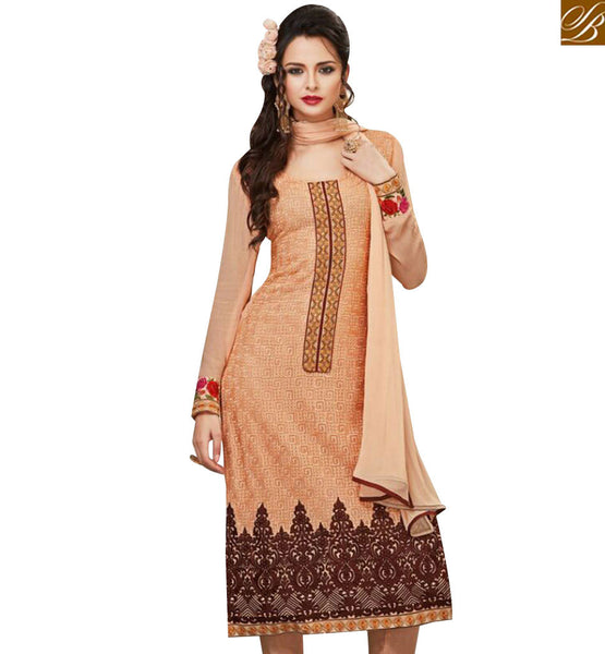 STYLISH BAZAAR PLEASING PEACH GEORGETTE DESIGNER STRAIGHT CUT SALWAR KAMEEZ WITH FULL SLEEVES MJSYB51