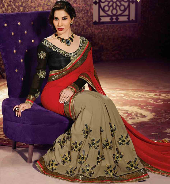 BOLLYWOOD SAREE BLOUSE DESIGNS AT AFFORDABLE RATES SOPHIE CHAUDHARY WEIGHT LESS GEORGETTE EMBROIDERED SAREE WITH RAW SILK BLOUSE