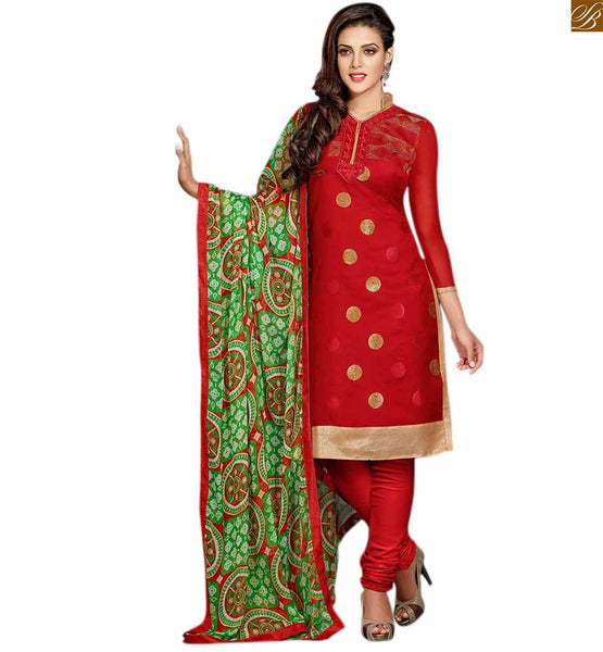 Punjabi suits neck design of kameez for stylish salwar dress maroon cotton embroidered neck line dress with embroidery patch work and maroon cotton churidar bottom Image
