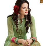 FROM THE HOUSE OF STYLISH BAZAAR BEAUTIFUL GREEN GEORGETTE STRAIGHT CUT EMBROIDERED SUIT WITH NAJNEEN DUPATTA MJSYB52