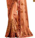 CLASSY ORANGE EMBROIDERED SAREE COUPLED WITH AN AWESOME MAROON BLOUSE ANRF52