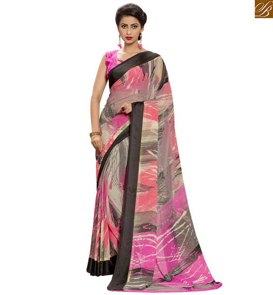 STYLISH BAZAAR PRESENTATION BEAUTEOUS PRINTED PARTY WEAR SARI DESIGN RTSER524