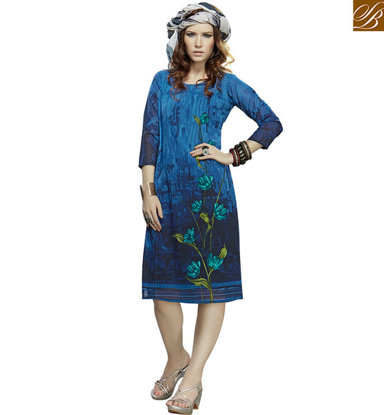 STYLISH BAZAAR PRESENTS GORGEOUS BLUE DESIGNER KURTI DESIGN VDJIA526B