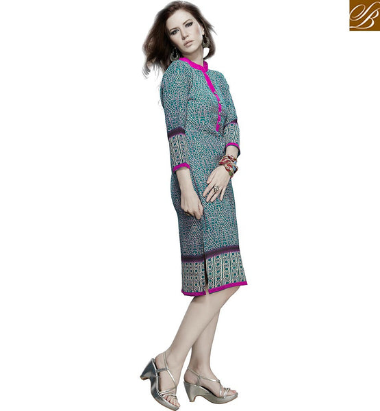 BEAUTEOUS KURTI DESIGN ESPECIALLY FOR PARTIES VDJIA528B BY SEA GREEN