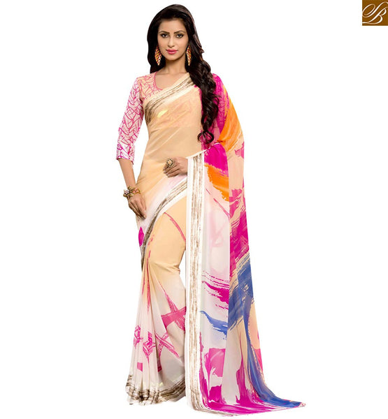 FASCINATING PRINTED DESIGNER SARI FOR PARTIES RTSER529 BY STYLISH BAZAAR