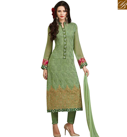 STYLISH BAZAAR BEAUTIFUL GREEN GEORGETTE STRAIGHT CUT EMBROIDERED SUIT WITH NAJNEEN DUPATTA MJSYB52