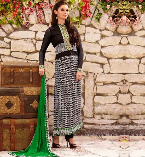 STYLISHBAZAAR ONLINE SHOPPING BLACK PARTY WEAR SALWAR SUIT RTDAK5385A