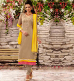 STYLISHBAZAAR ONLINE SHOPPING CHIKOO PARTY WEAR SALWAR SUIT RTDAK5387A