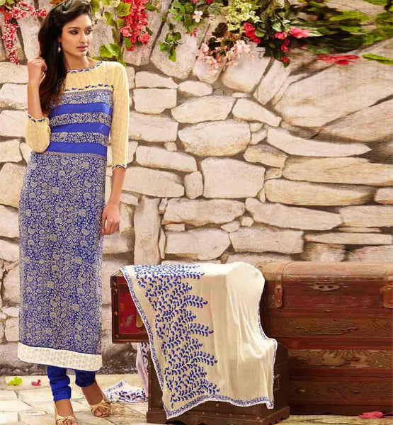 STYLISHBAZAAR ONLINE SHOPPING BLUE PARTY WEAR SALWAR SUIT RTDAK5388A