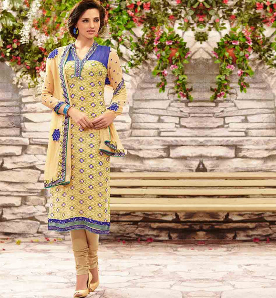 STYLISHBAZAAR ONLINE SHOPPING CREAM PARTY WEAR SALWAR SUIT RTDAK5389A