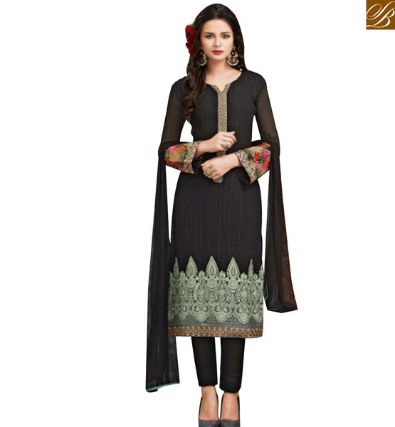 STYLISH BAZAAR BLACK GEORGETTE STRAIGHT CUT SALWAR KAMEEZ WITH EMBROIDERY WORK ON END OF THE TOP MJSYB53