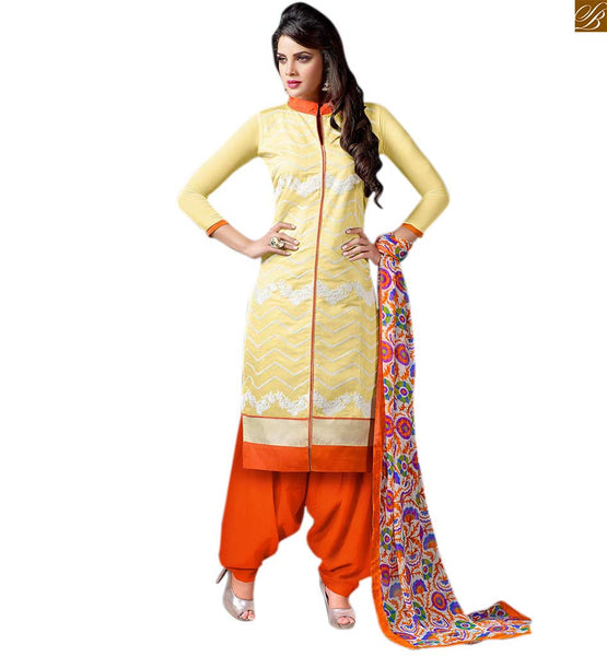 Pakistani kurta with punjabi salwar suit design for teen girls yellow cotton servani type floral embroidered salwar kameez with orange cotton patiala bottom Image