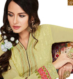 A STYLISH BAZAAR PRESENTATION MAGNIFICENT MUSTARD GEORGETTE STRAIGHT CUT SALWAR KAMEEZ WITH FLOWERY WORK MJSYB54