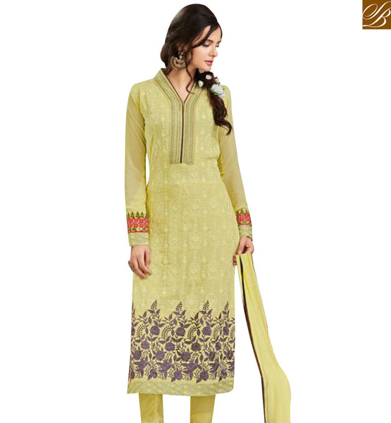 STYLISH BAZAAR MAGNIFICENT MUSTARD GEORGETTE STRAIGHT CUT SALWAR KAMEEZ WITH FLOWERY WORK MJSYB54