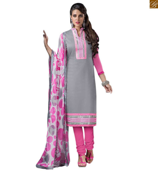 Neck designs for salwar kameez punjabi suit boutique type dress grey cotton embroidered high neck design salwar kameez with patch work and pink cotton churidar bottom Image