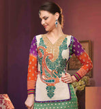 EXCITING GEORGETTE STRAIGHT CUT RICH EMBROIDERED SUITGREEN, ORANGE AND PURPLE PARTY WEAR SUIT WITH SANTOON SALWAR AND CHIFFON ODHNI