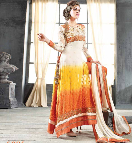 SIZZLING SHADED PARTY WEAR SALWAR SUIT WITH NAZNEEN DUPATTTA
