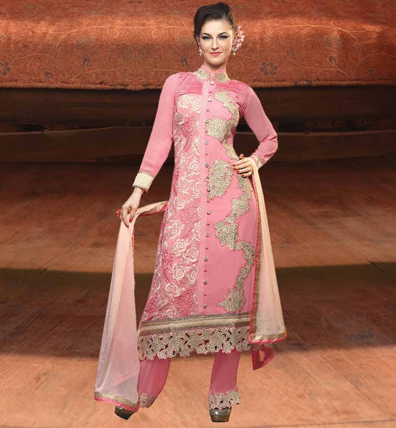 NEW FASHION HIGH NECK DESIGNS FOR SALWAR KAMEEZ EYE-CATCHING DUSTY PINK GEORGETTE PARTY WEAR DRESS