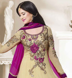 BUY BEST SALWAR SUITS ONLINE DESIGNER CREAM & PINK ANARKALI DRESS
