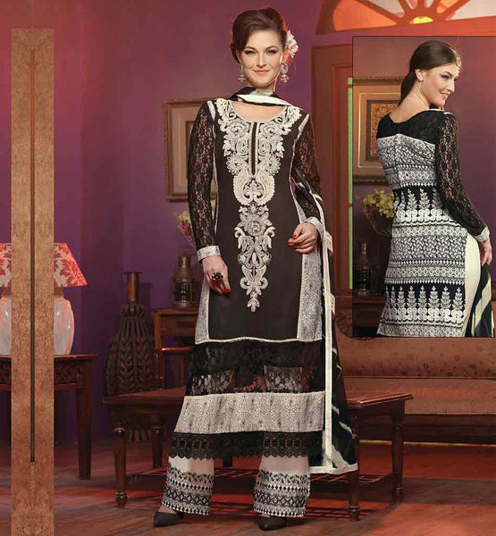 EVER STYLSIH SALWAR KAMEEZ DESIGNS 2015 FOR WOMEN GEORGETTE BLACK STRAIGHT LOOK PARTY WEAR SUIT WITH INNER, SALWAR AND ODHNI