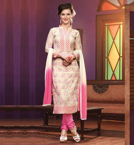 SIMPLE YET TRENDY SALWAR KAMEEZ DRESS FOR WOMEN IRRESISTIBLE CREAM GEORGETTE STRAIGHT DESIGN SUIT