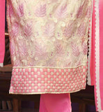 THIS ASTONISHING SUIT HAS PINK & CREAM COLOR FLOWERY & KERRY FASHION EMBROIDERY WORK IT WITH STYLISH NECKLINE AND HEMLINE SIMPLE YET TRENDY SALWAR KAMEEZ DRESS FOR WOMEN VDPRA5503