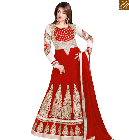 PARTY WEAR ANARKALI SUITS ONLINE SHOPPING LATEST RED SALWAR KAMEEZ AMFS5503E