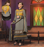 INDIAN KAMEEZ SALWAR DESIGNS FOR MODERN LADY STUNNING GREY GEORGETTE SUIT WITH EXCITING DESIGN ON FRONT AND BACK SIDE