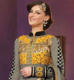 STUNNING GREY GEORGETTE SUIT WITH EXCITING DESIGN ON FRONT AND BACK SIDE CHECKS PATTERN SLEEVES WITH FANCY COLLAR AND YELLOW COLOR EMBROIDERY ON NECK AND BACK