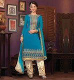 BUY DESIGNER SALWAR SUIT ONLINE AT BEST RATES COOL BLUE GEORGETTE SUIT WITH EMBROIDERED DEEP NECKLINE