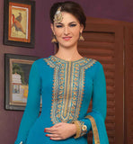 COOL BLUE GEORGETTE SUIT WITH EMBROIDERED DEEP NECKLINE THE TOP HAS GOLDEN COLOR ETHNIC STYLE EMBROIDERY ON NECK AND LOWER PORTION WITH DETAILED SALWAR