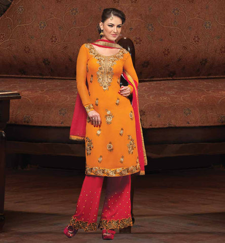 LATEST SALWAR KAMEEZ DESIGNS PAY CASH ON DELIVERY OUT-STANDING ORANGE GEORGETTE DRESS WITH SUPERB BUTTA STYLE DESIGNING