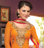 OUT-STANDING ORANGE GEORGETTE DRESS WITH SUPERB BUTTA STYLE DESIGNING MARK YOUR PRESENCE BY WEARING THIS EXCITING STRAIGHT DESIGN PARTY WEAR SUIT WITH AWESOME NECKLINE AND DESIGNER SALWAR