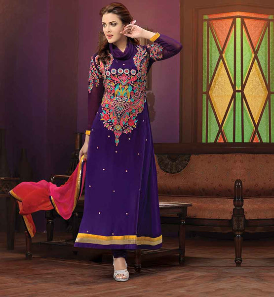 RAJWADI DESIGNER SALWAR KAMEEZ ONLINE INDIA WONDERFUL VIOLET GEORGETTE DRESS WITH EYE-CATCHING EMBROIDERY WORK