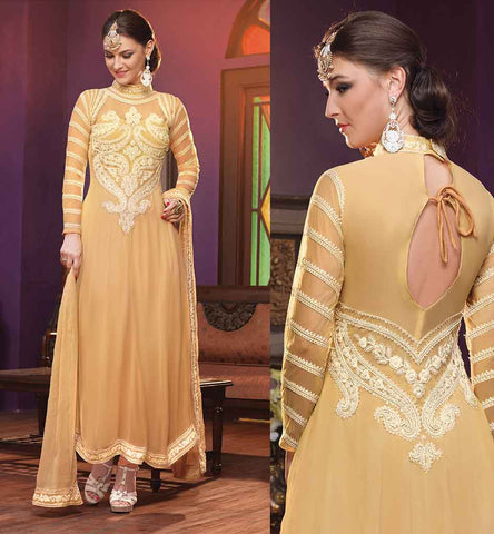 SALWAR KAMEEZ WITH EMBROIDERED FRONT AND BACK BEIGE GEORGETTE TOP WITH INNER, MATCHING SALWAR AND CHIFFON ODHNI